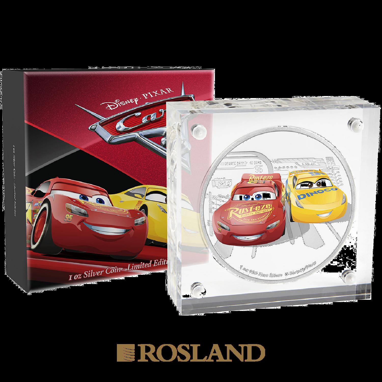 1 Unze Silbermünze Niue Disney® Cars Lightning McQueen 2017 (Koloriert, Box)