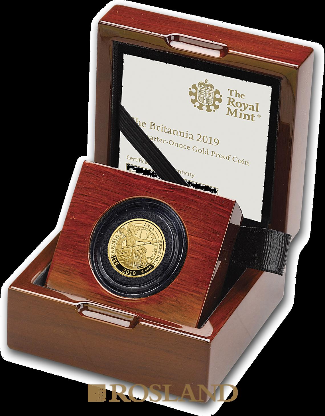 1/4 Unze Goldmünze Britannia 2019 PP (Box, Zertifikat)