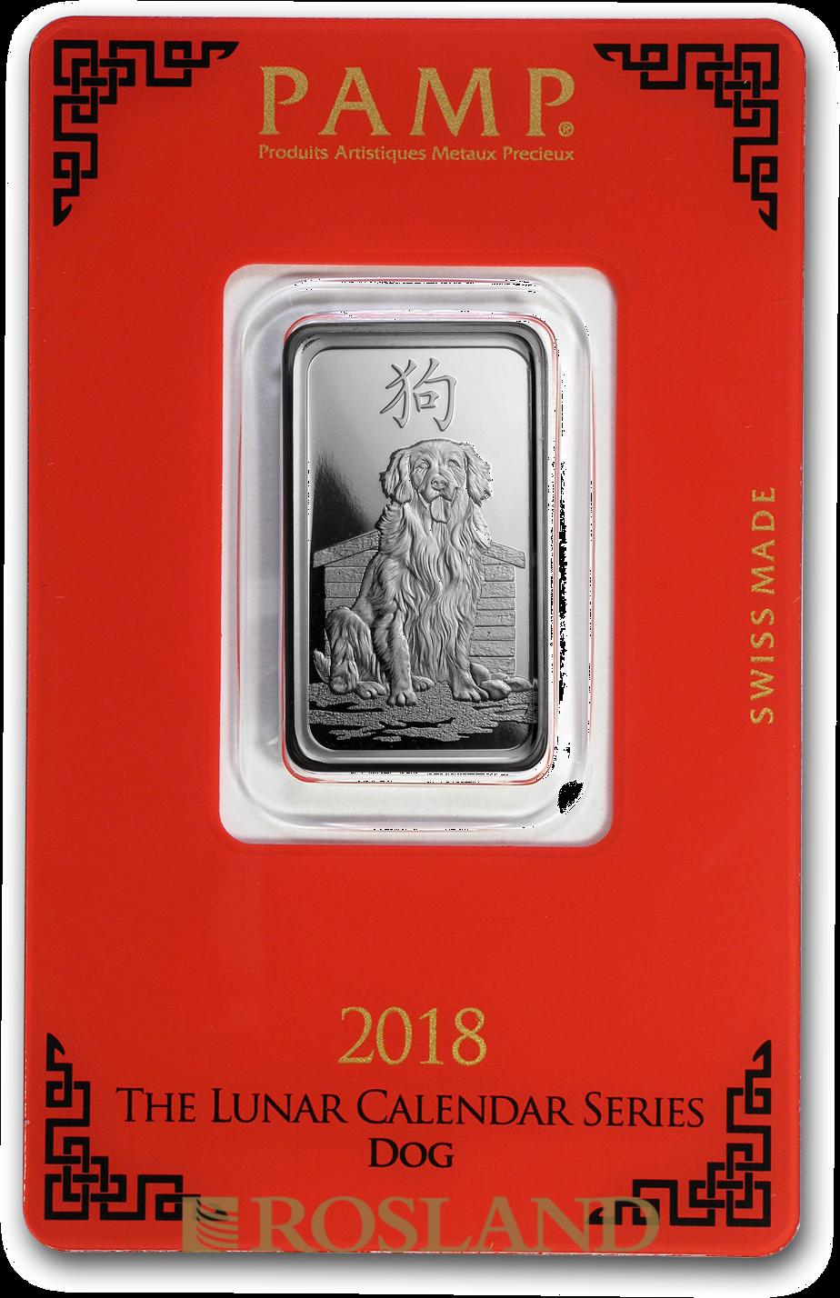 10 Gramm Silberbarren PAMP Lunar Jahr des Hundes 2018