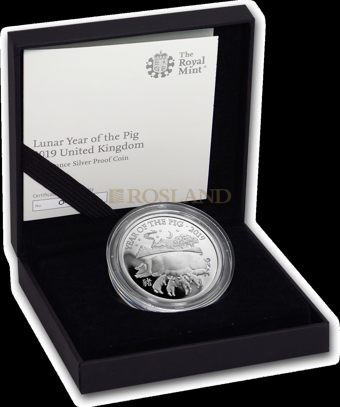 1 Unze Silbermünze Great Britain Jahr des Schweines 2019 PP (Box, Zertifikat)