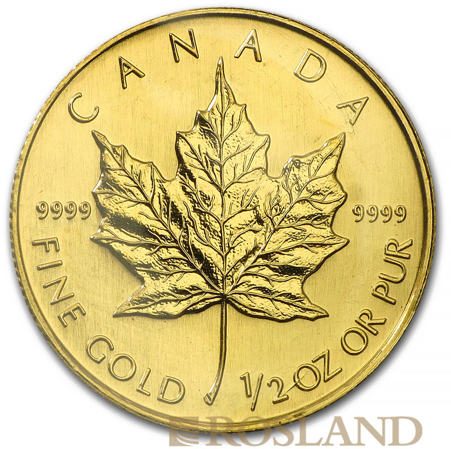 1/2 Unze Goldmünze Kanada Maple Leaf 2002