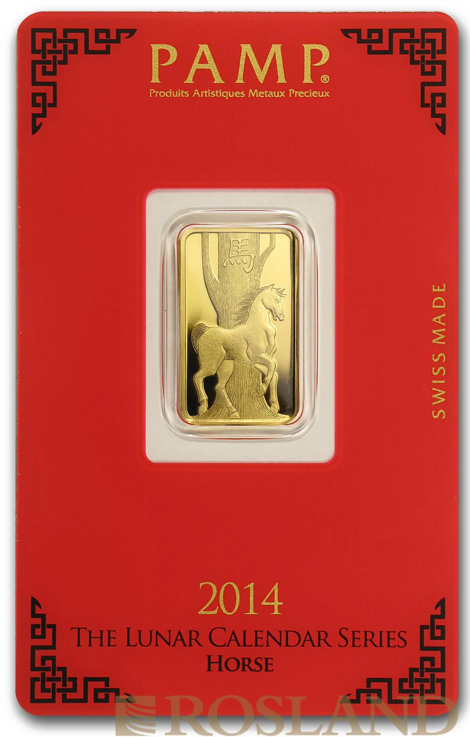 5 Gramm Goldbarren PAMP Lunar Jahr der Pferdes 2014