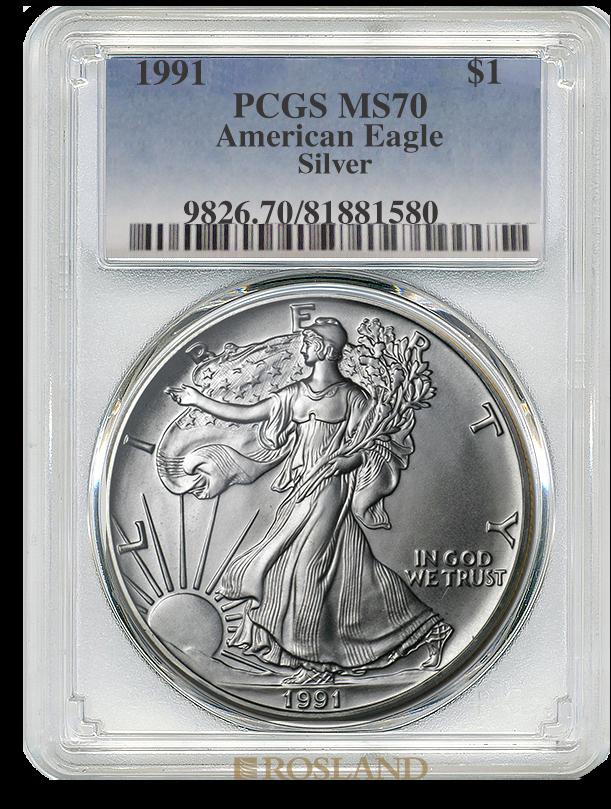 1 Unze Silbermünze American Eagle 1991 PCGS MS-70