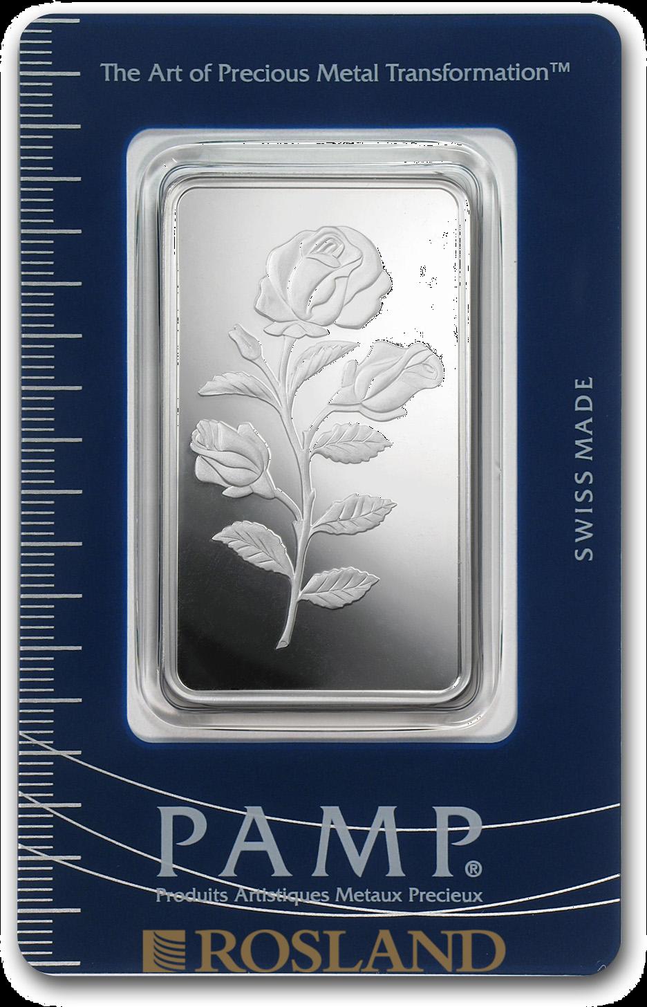 1 Unze Silberbarren PAMP Rose