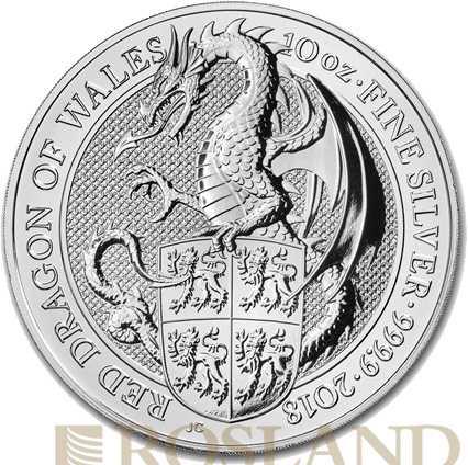 10 Unzen Silbermünze Queens Beasts Red Dragon 2017