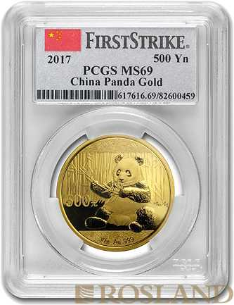 30 Gramm Goldmünze China Panda 2017 PCGS MS-69 First Strike