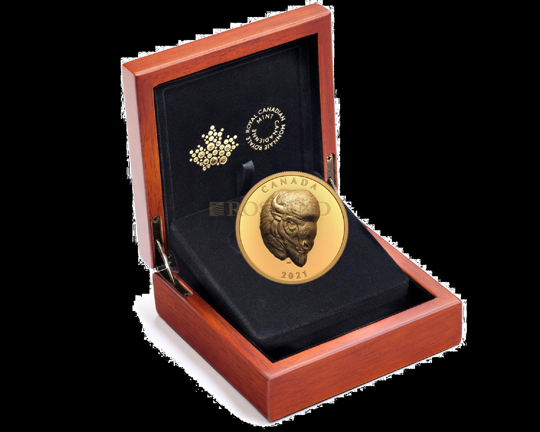 2 Unzen Goldmünze Canadian Bold Bison 2021 PP (HR, Box, Zertifikat)