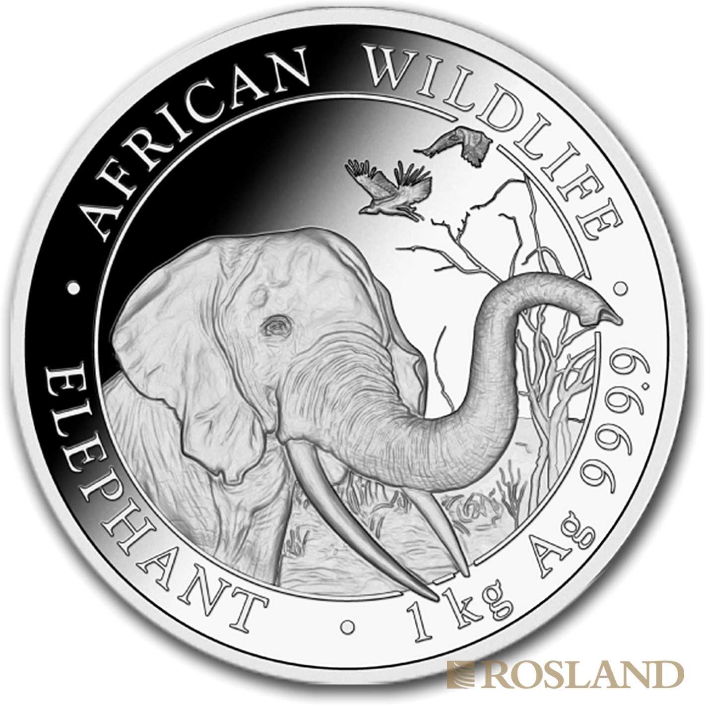 1 Kilogramm Silbermünze Somalia Elefant 2018