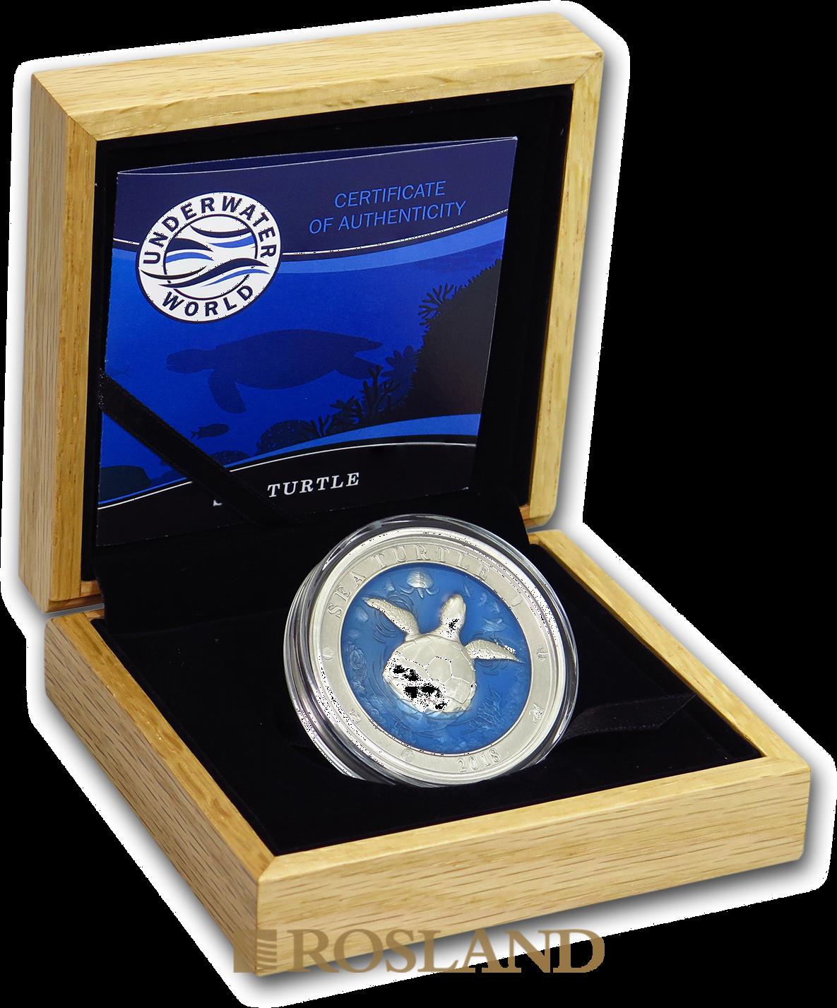 3 Unzen Silbermünze Antique Underwater World Meeresschildkröte 2018 (Box, Zertifikat)