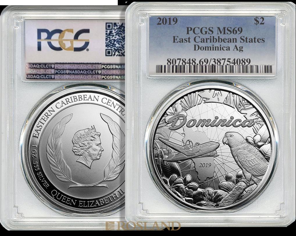 1 Unze Silbermünze EC8 Dominica Nature Isle 2019 PCGS MS-69