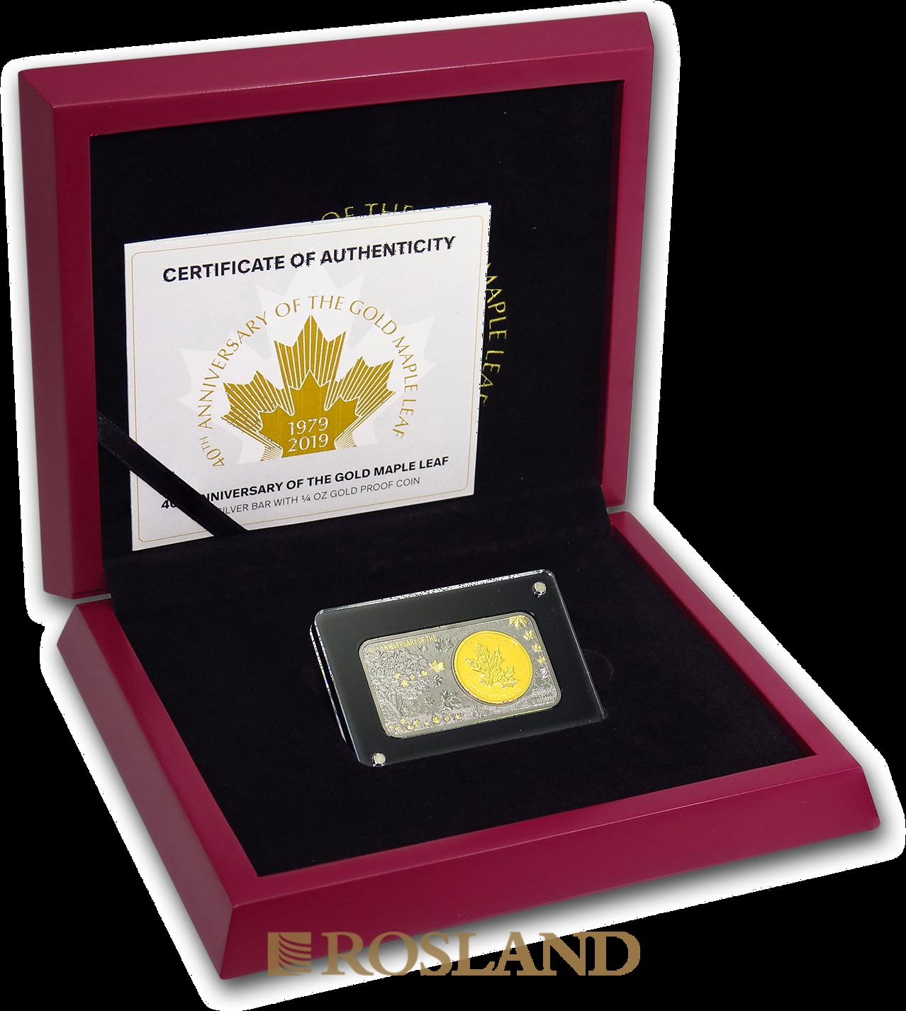 2 Teile Goldmünzen Silberbarren Set 40 Jahre Maple Leaf 2019 PP (Box, Zertifikat)
