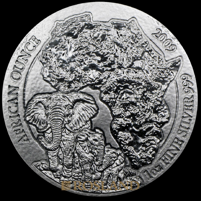 1 Unze Silbermünze Ruanda Wildlife Elefant 2009