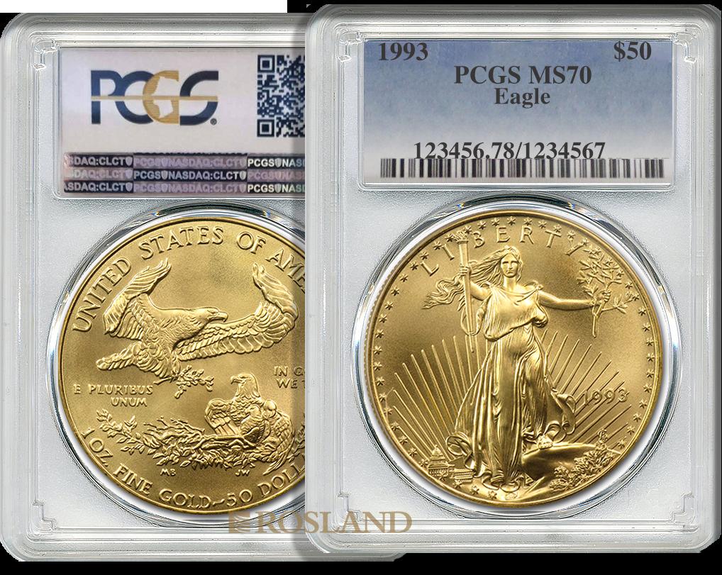 1 Unze Goldmünze American Eagle 1993 PCGS MS-70