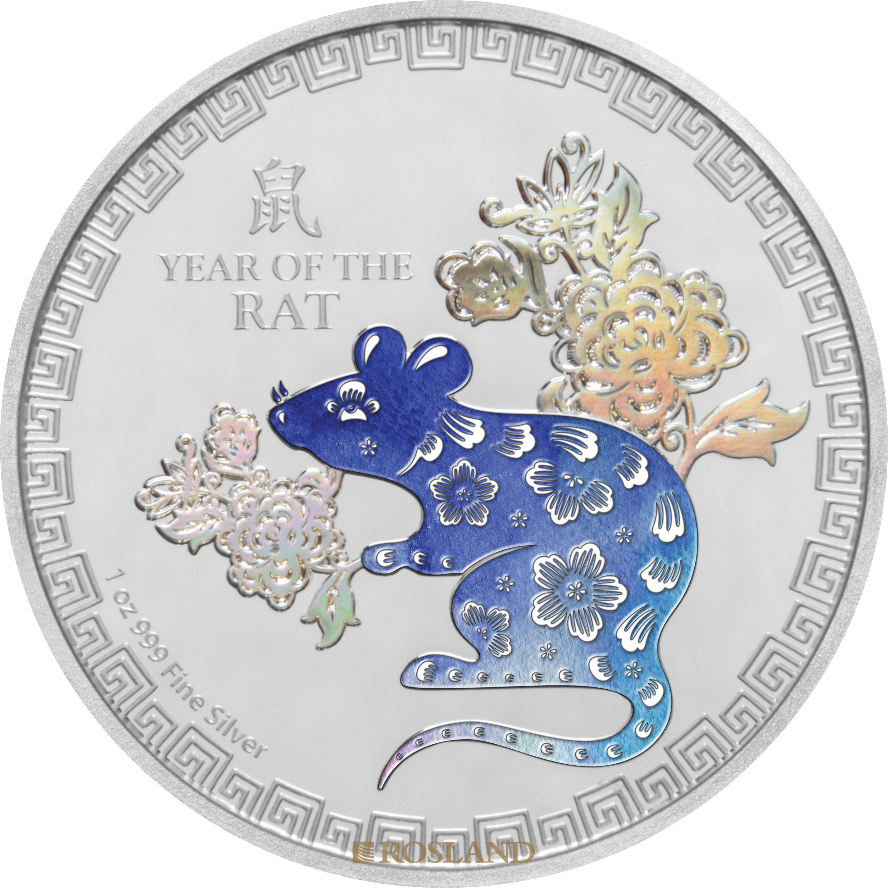 1 Unze Silbermünze Jahr der Ratte 2020 PP (Koloriert, Box, Zertifikat)