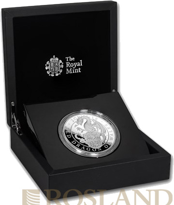 5 Unzen Silbermünze Queens Beasts Red Dragon 2018 PP (Box, Zertifikat)