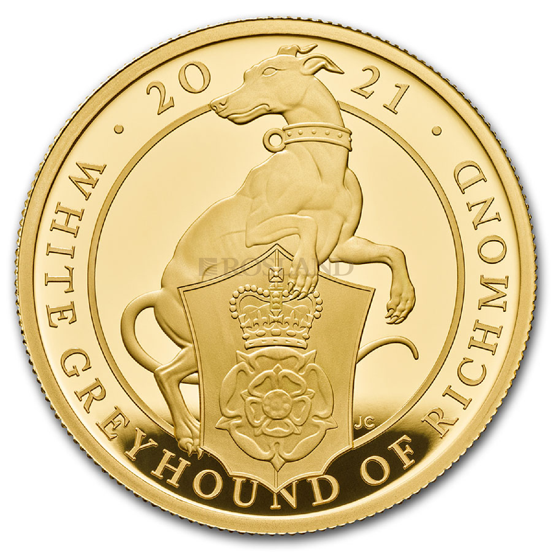 1 Unze Goldmünze Queens Beasts Greyhound 2021 PP (Box, Zertifikat)