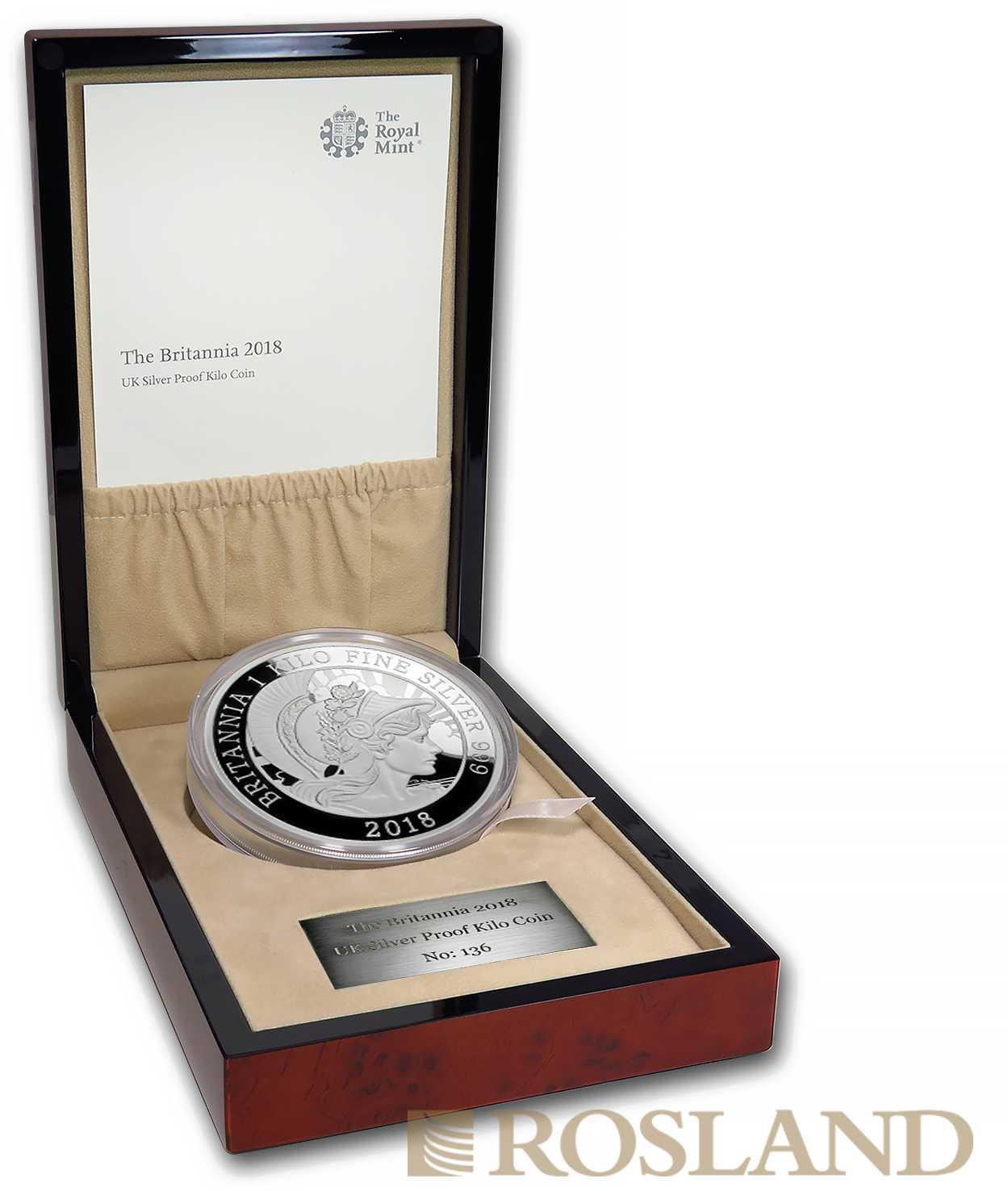 1 Kilogramm Silbermünze Brtiannia 2018 PP (Box, Zertifikat)