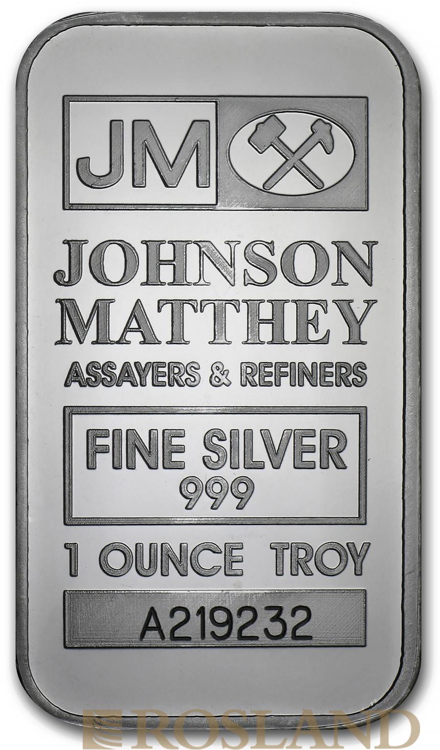 1 Unze Silberbarren Johnson Matthey