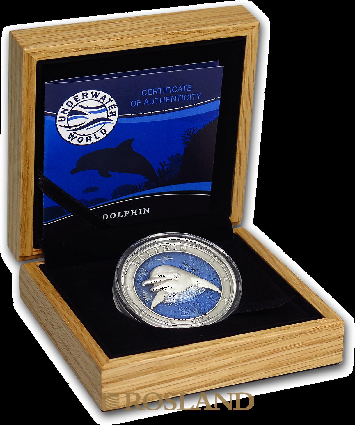 3 Unzen Silbermünze Antique Underwater World Delfin 2019 (Box, Zertifikat)