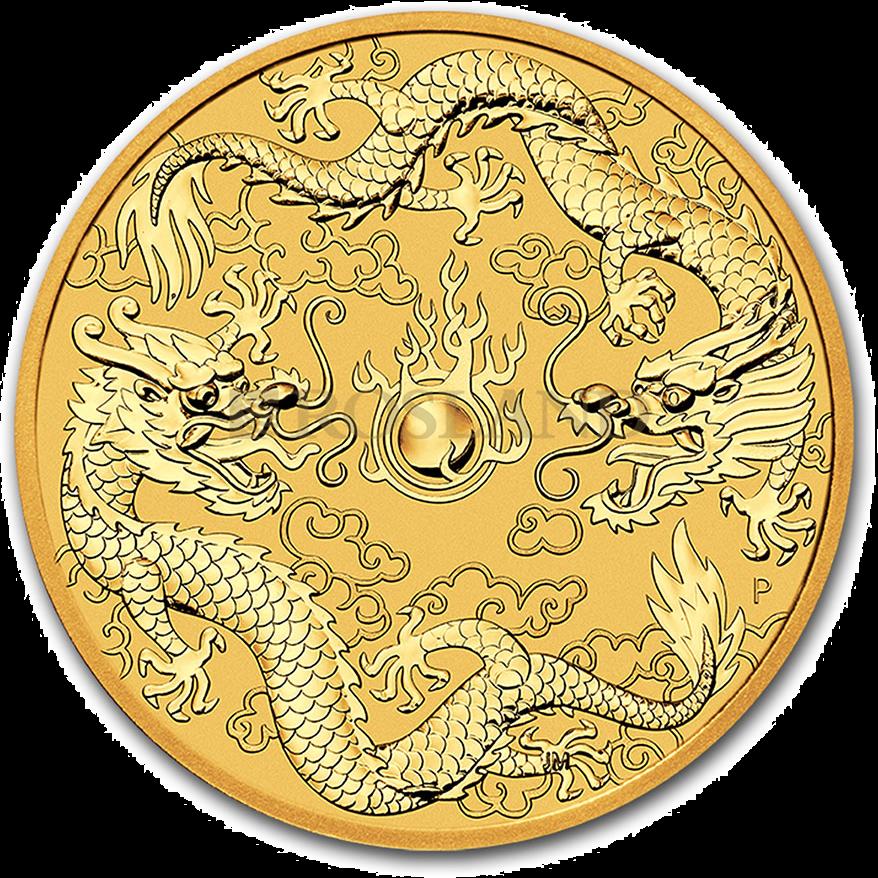 1 Unze Goldmünze Perth Mint Doppeldrachen 2020