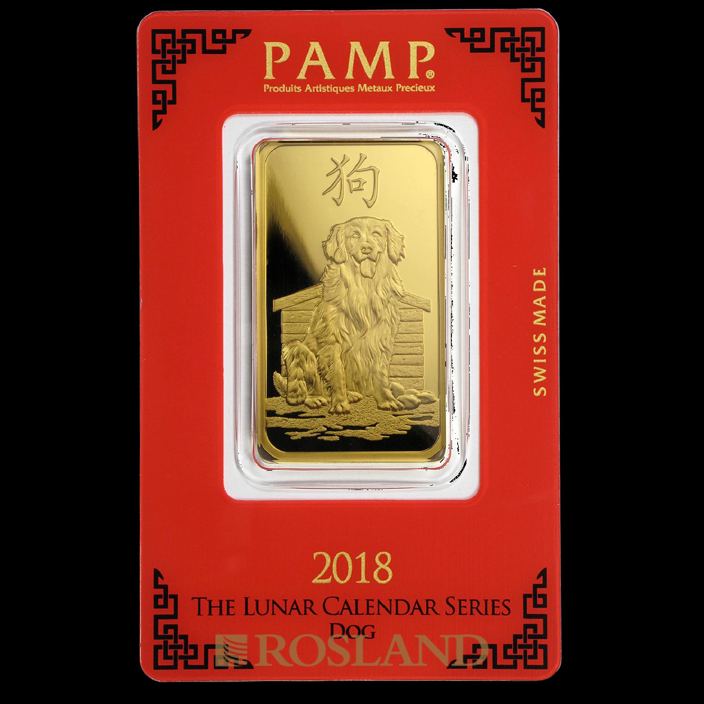 1 Unze Goldbarren PAMP Lunar Jahr des Hundes 2018