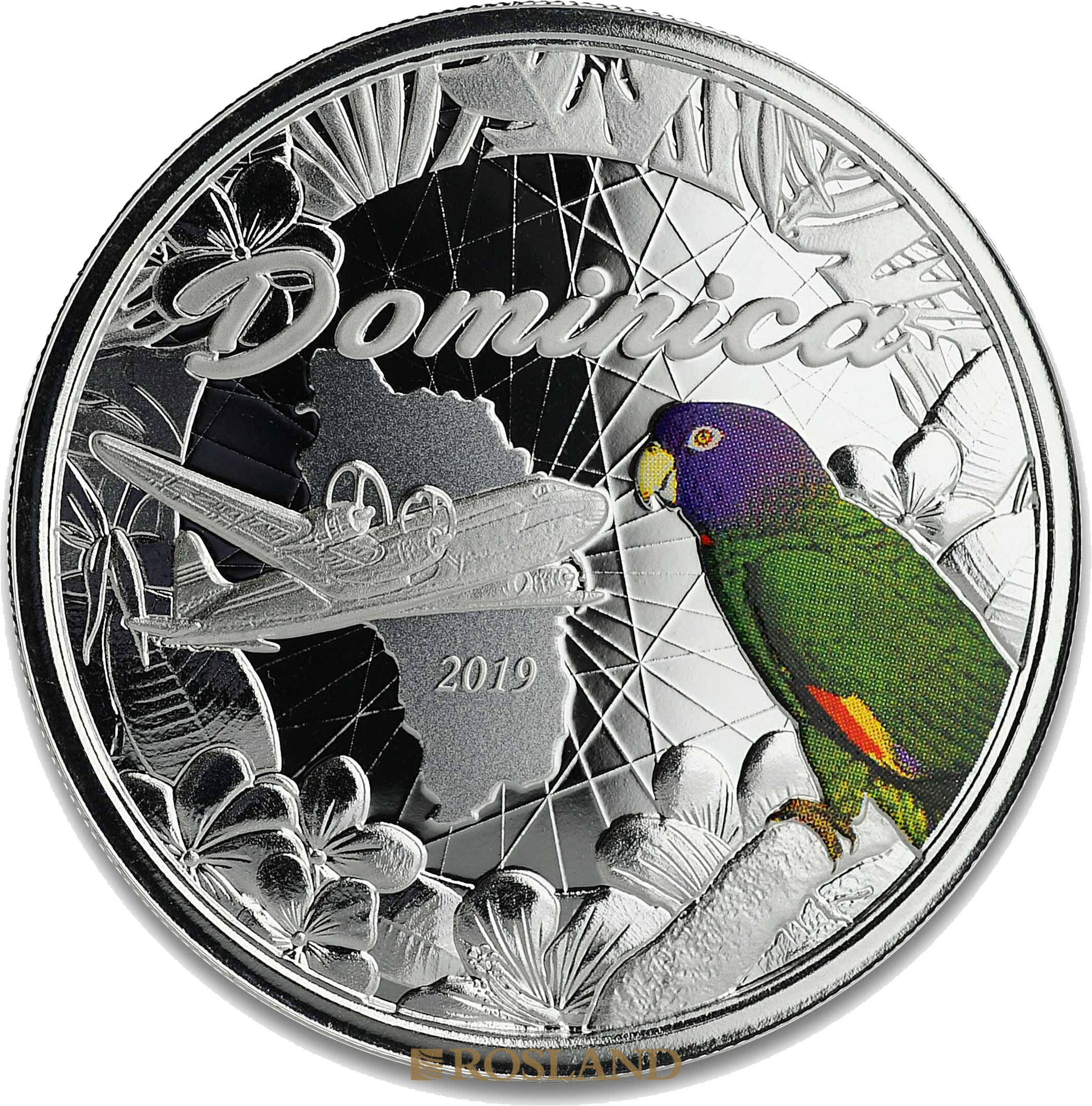 1 Unze Silbermünze EC8 Dominica Nature Isle 2019 PP (Koloriert, Box)