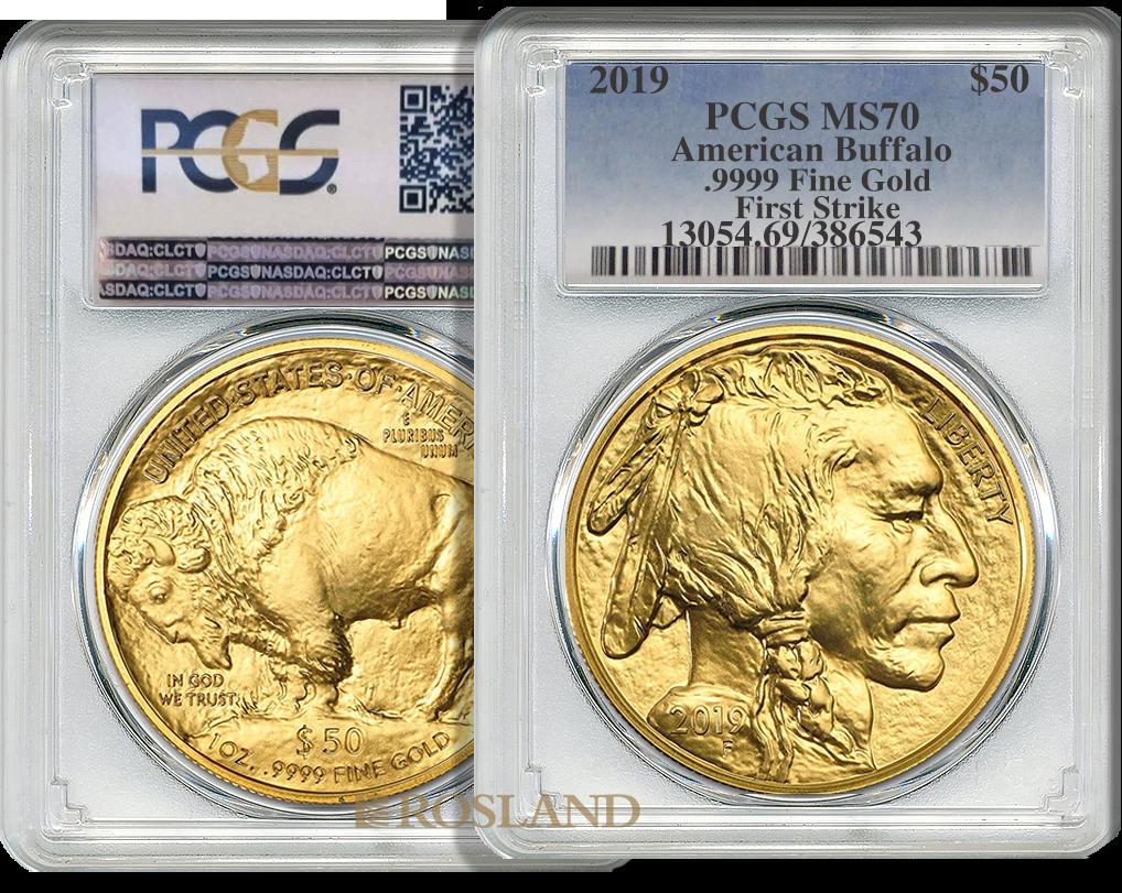 1 Unze Goldmünze American Buffalo 2019 PCGS MS-70 (FS)