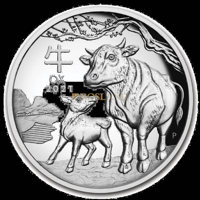 5 Unzen Silbermünze Lunar 3 Ochse 2021 PP (HR, Box, Zertifikat)