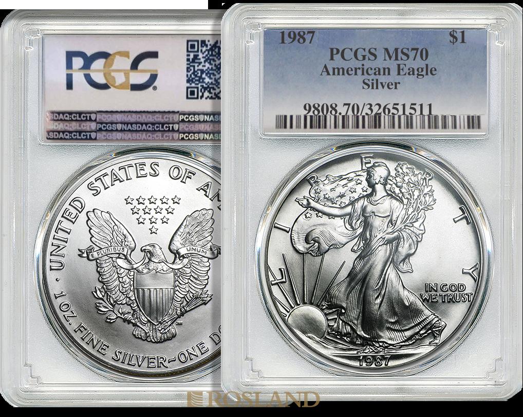 1 Unze Silbermünze American Eagle 1987 PCGS MS-70