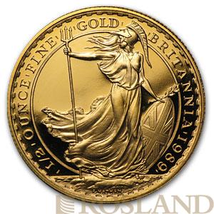 1/2 Unze Goldmünze Britannia PP 1989