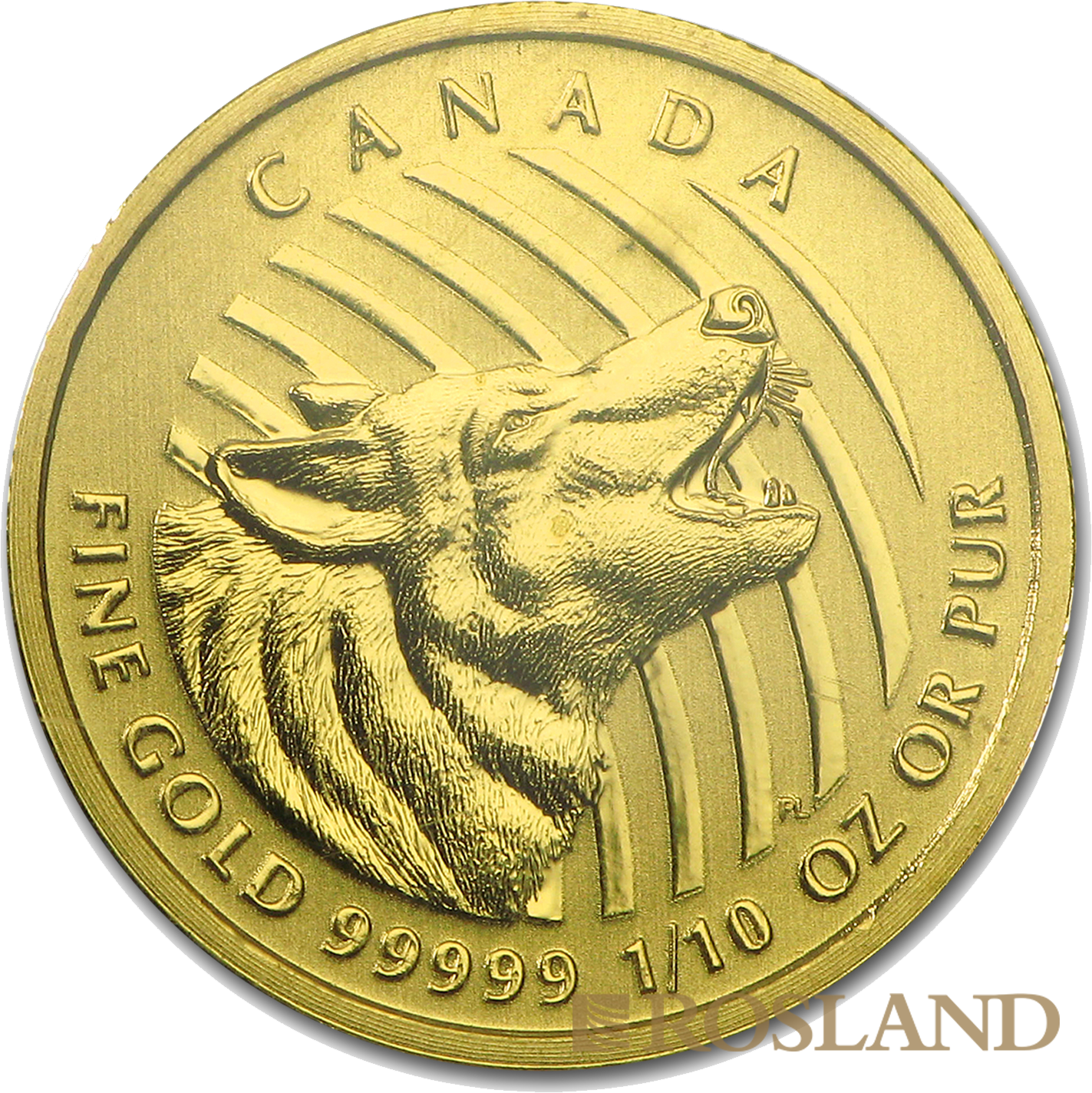 1/10 Unze Goldmünze Call of the Wild Wolf 2015  (.99999 Gold, Blister)