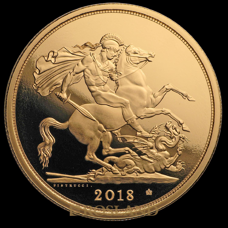 5 Sovereign Goldmünze Großbritannien 2018 (Box, Zertifikat)