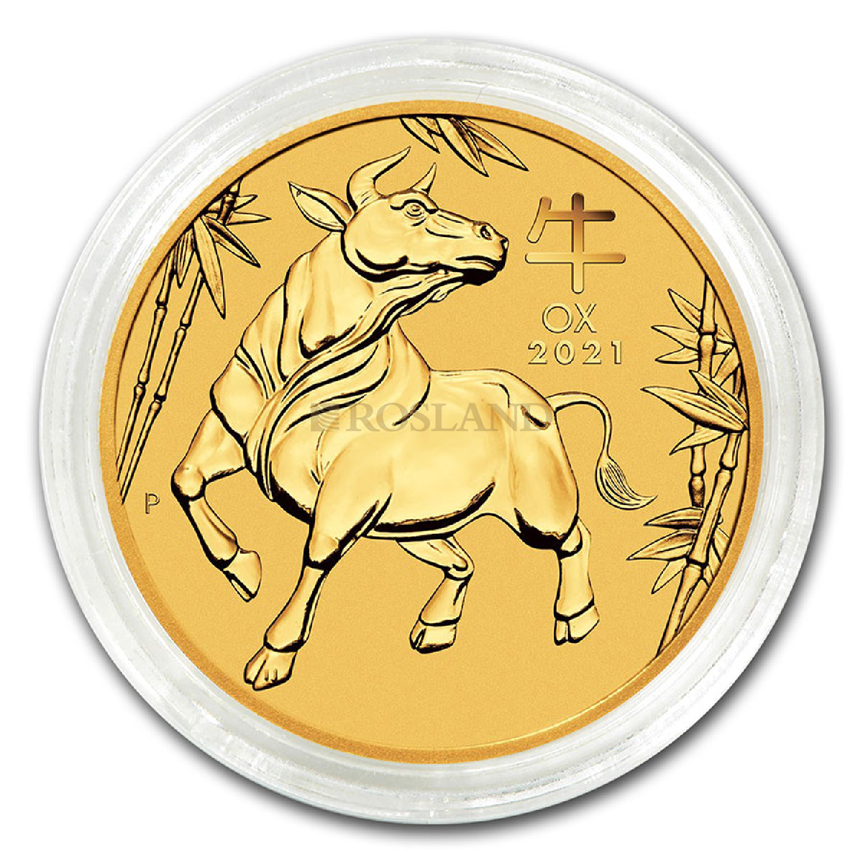 1/10 Unze Goldmünze Lunar 3 Ochse 2021