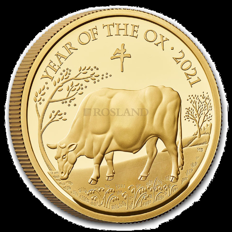 1 Unze Goldmünze Großbritannien Lunar Ochse 2021 (Box, Zertifikat)
