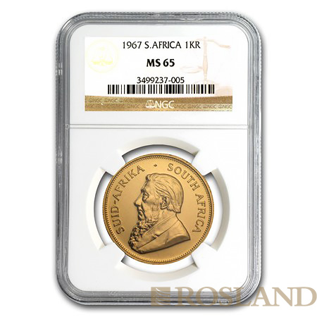 1 Unze Goldmünze Krügerrand 1967 MS-65 NGC