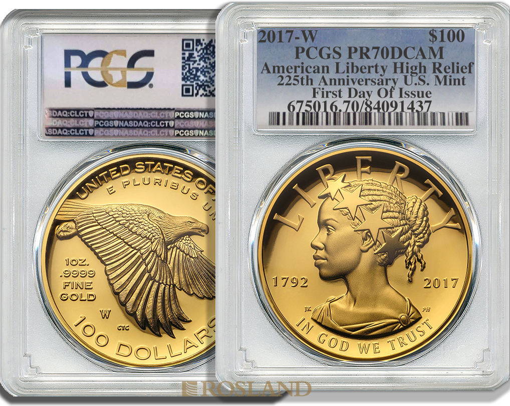 1 Unze Goldmünze American Liberty 2017 PP PCGS PR-70 (HR, DCAM, FD)