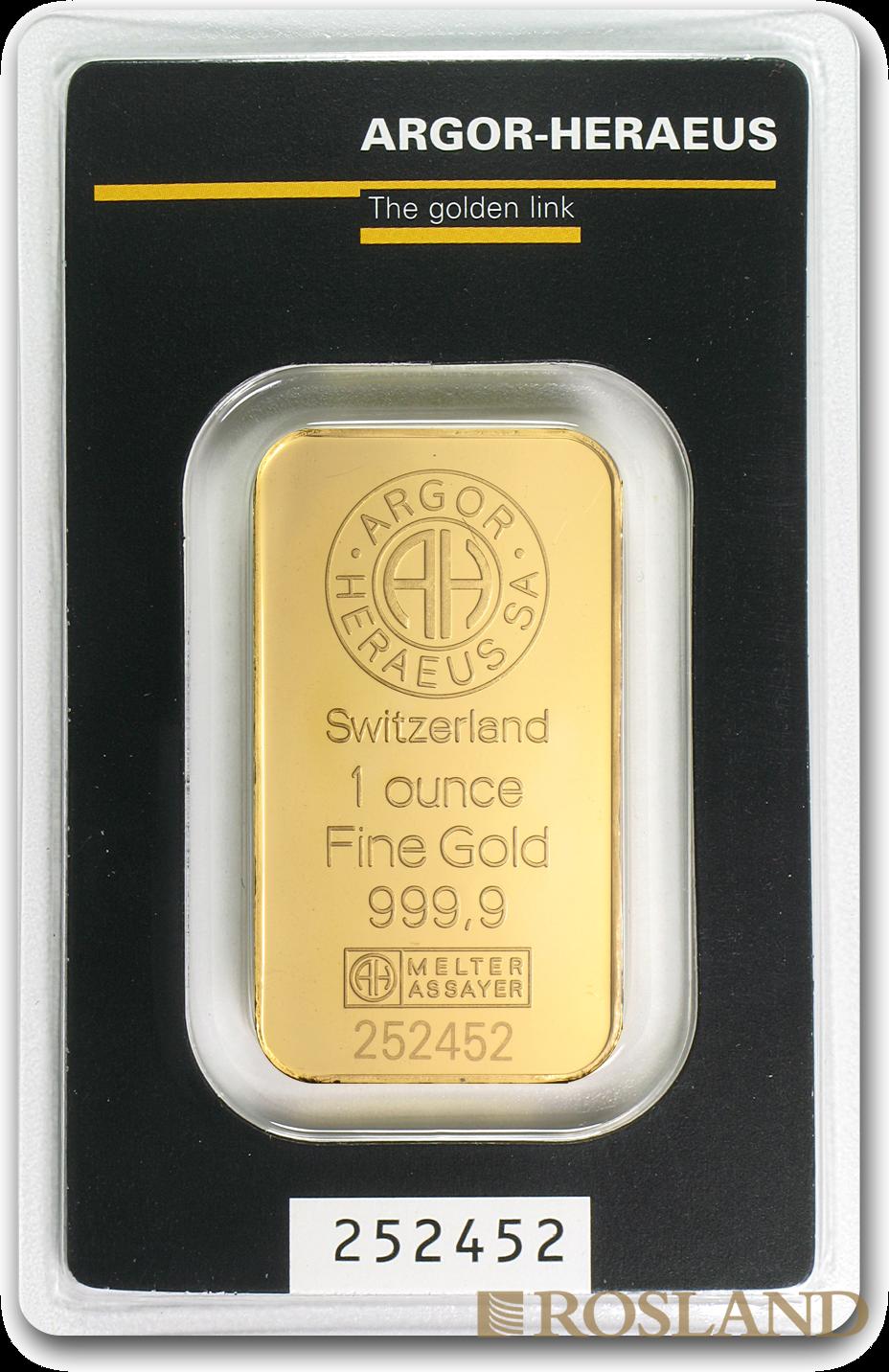 1 Unzen Goldbarren Heraeus Argor (.9999)
