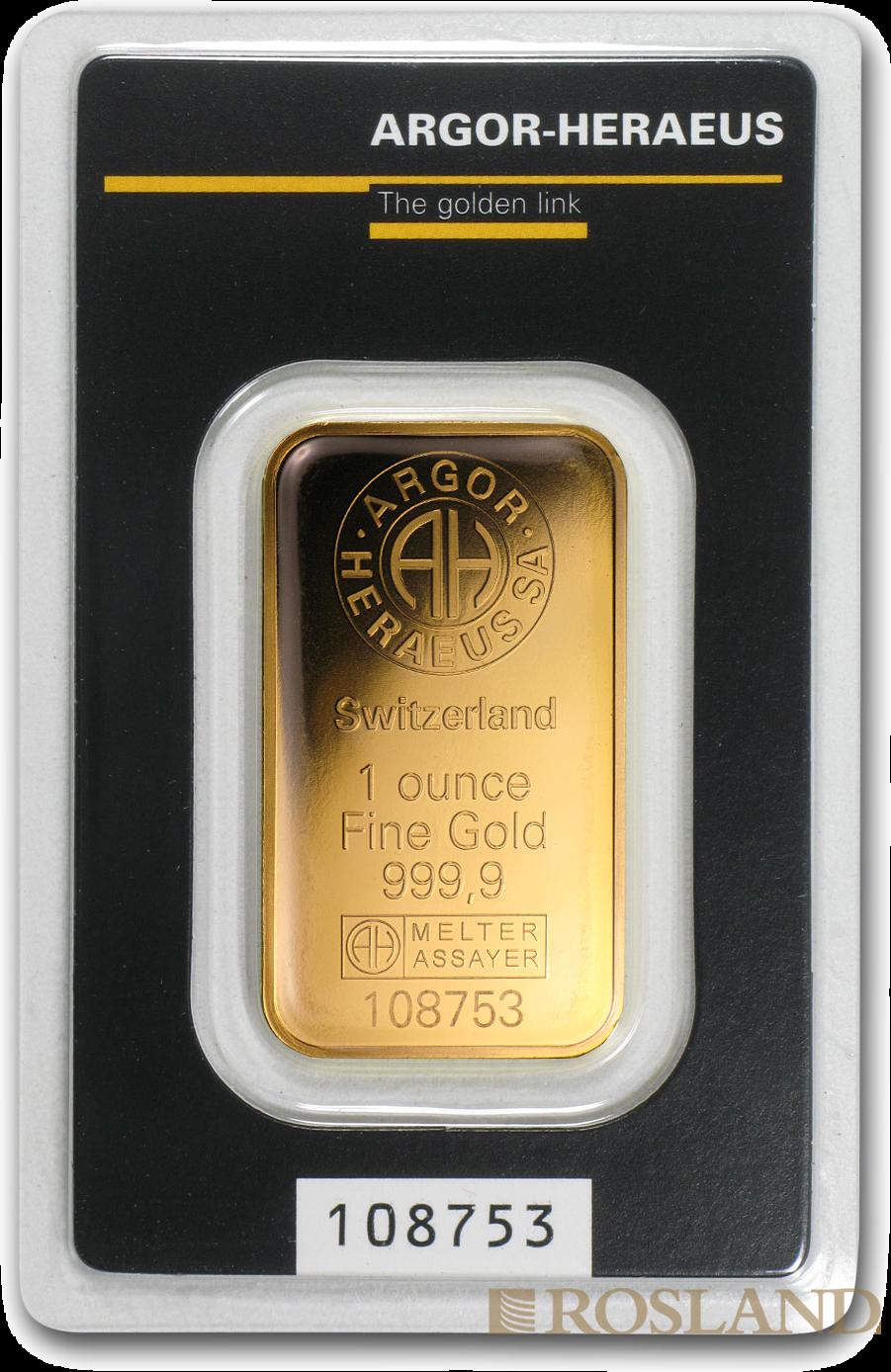 1 Unzen Goldbarren Heraeus Argor Kinebar® (.9999)