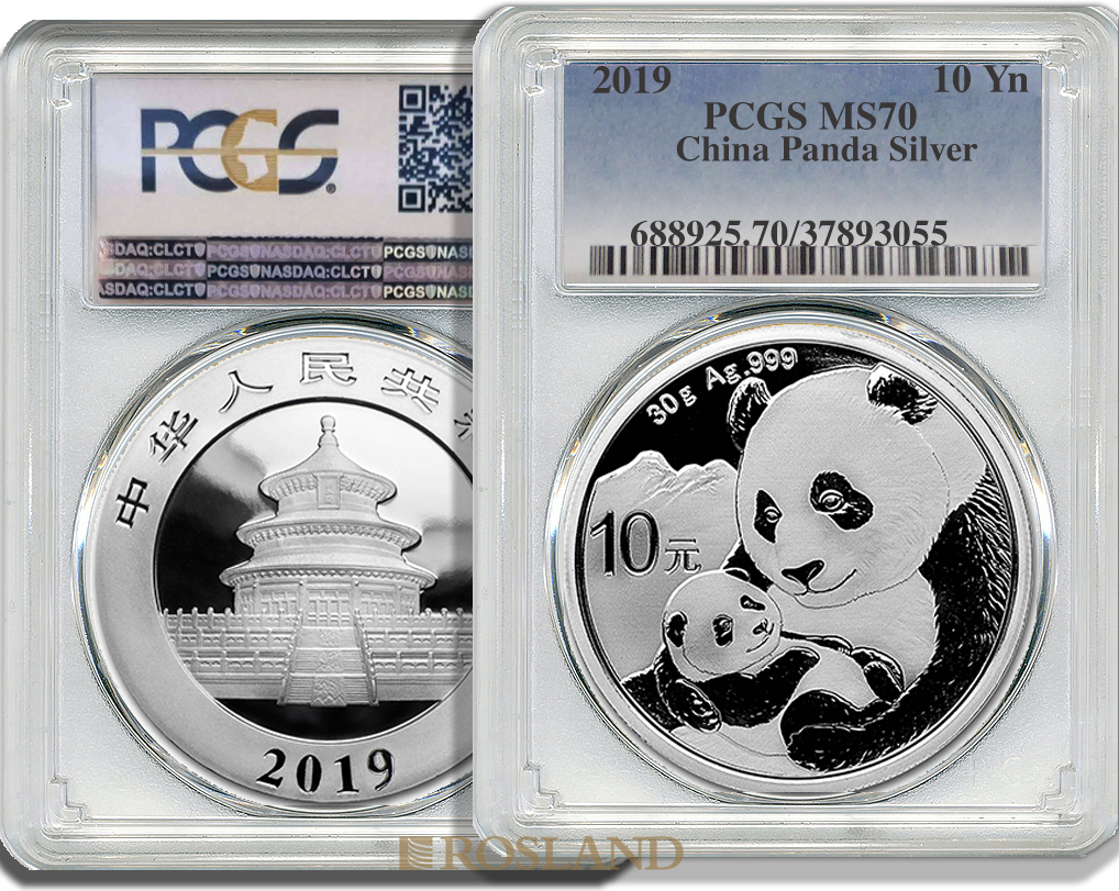 30 Gramm Silbermünze China Panda 2019 PCGS MS-70 (First Strike)