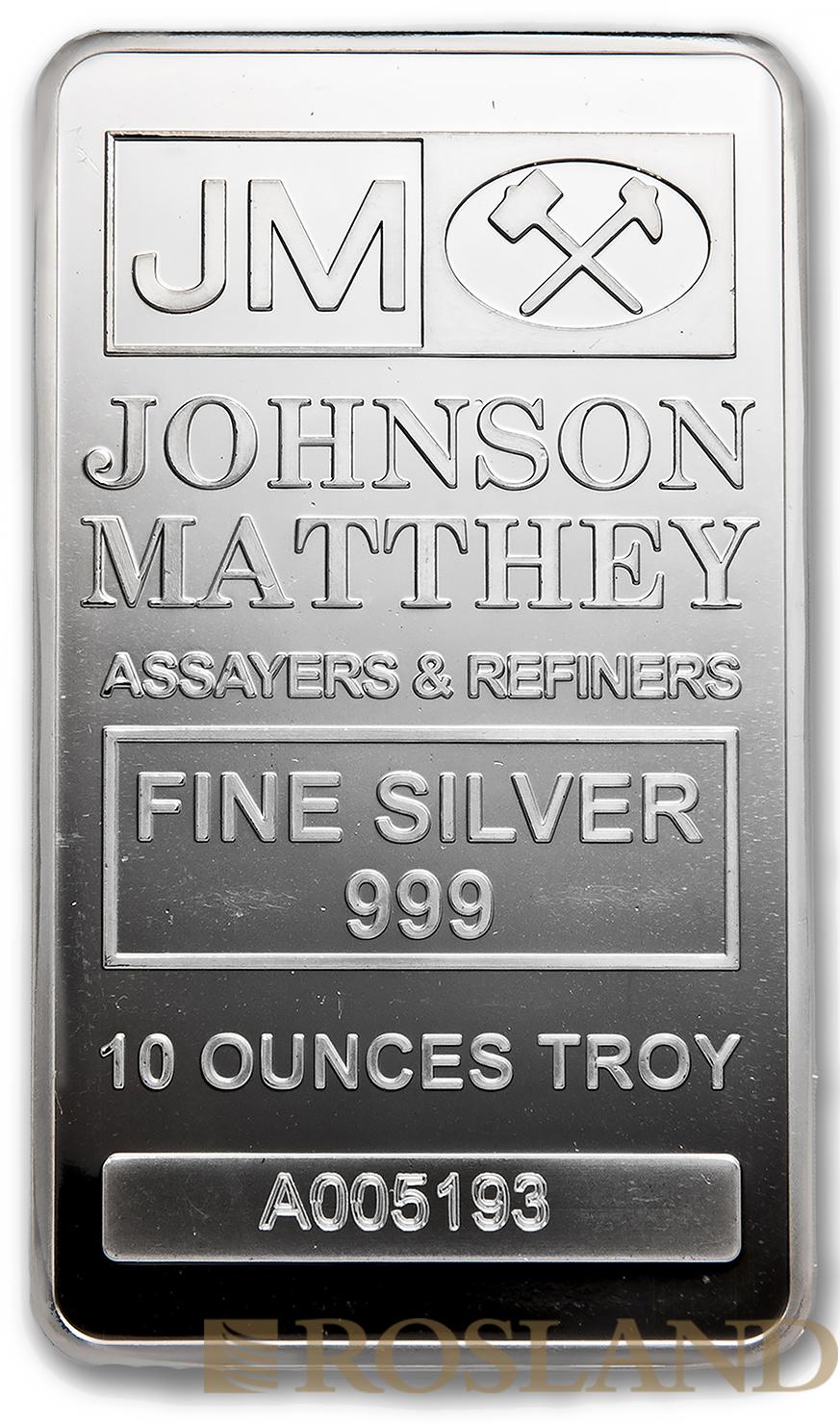 10 Unzen Silberbarren Johnson Matthey