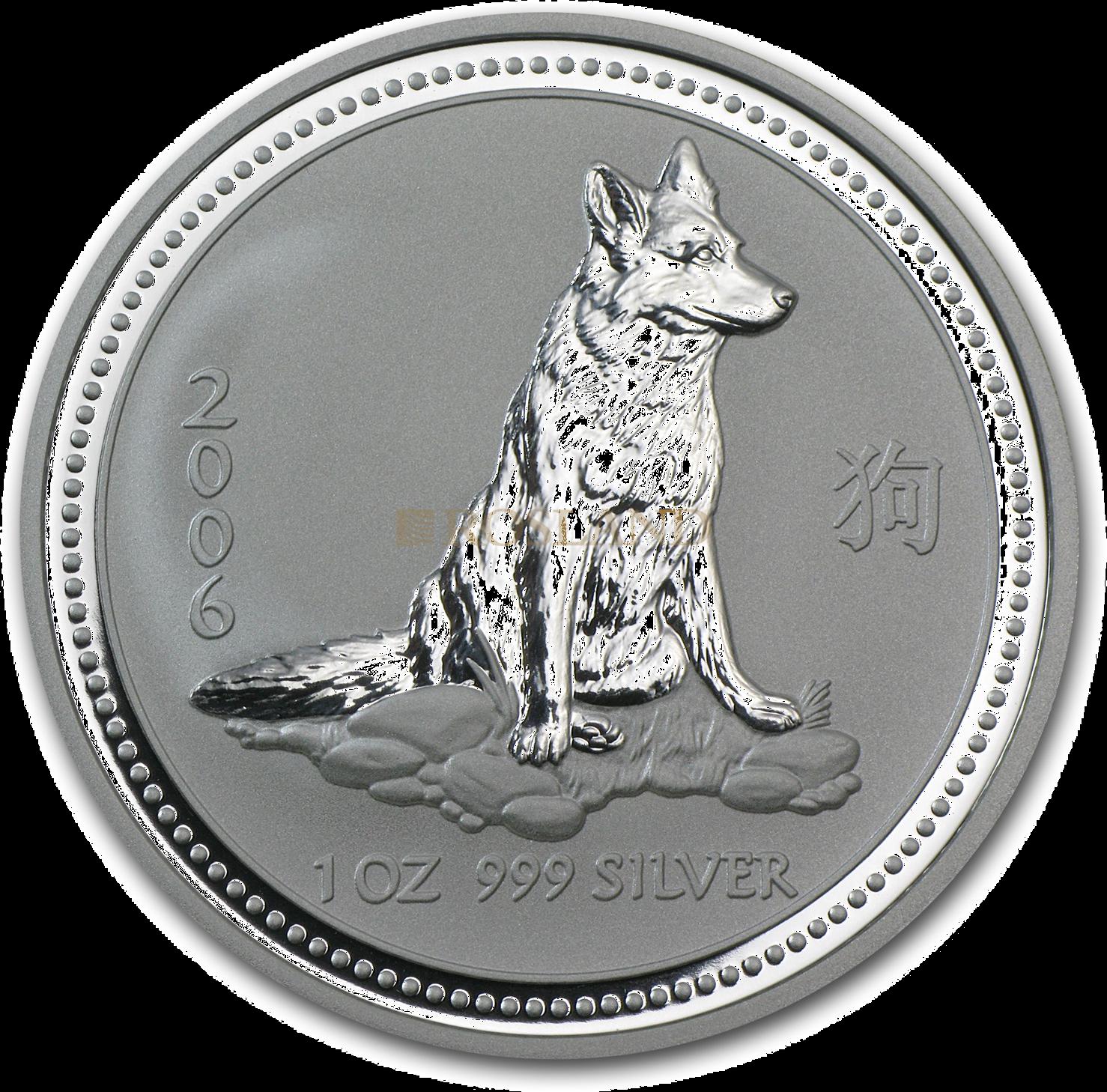 1 Unze Silbermünze Australien Lunar 1 Hund 2006