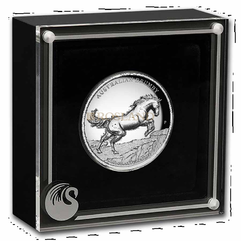 2 Unzen Silbermünze Perth Mint Brumby Pferd 2021 PP (Box, Zertifikat)