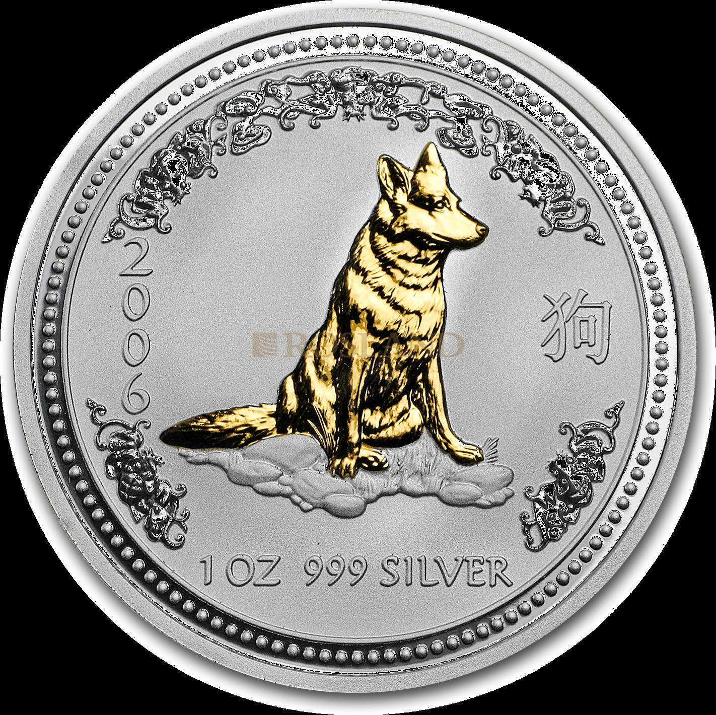 1 Unze Silbermünze Australien Lunar 1 Hund 2006 (Vergoldet)