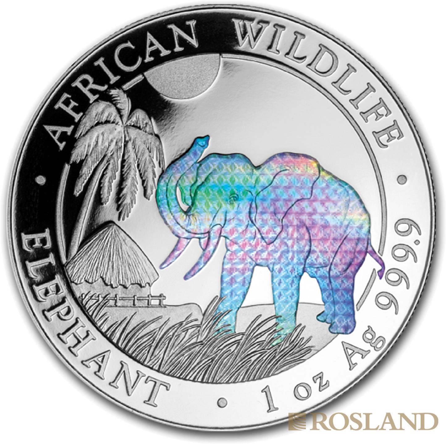 1 Unze Silbermünze Somalia Elefant 2017 Hologramm