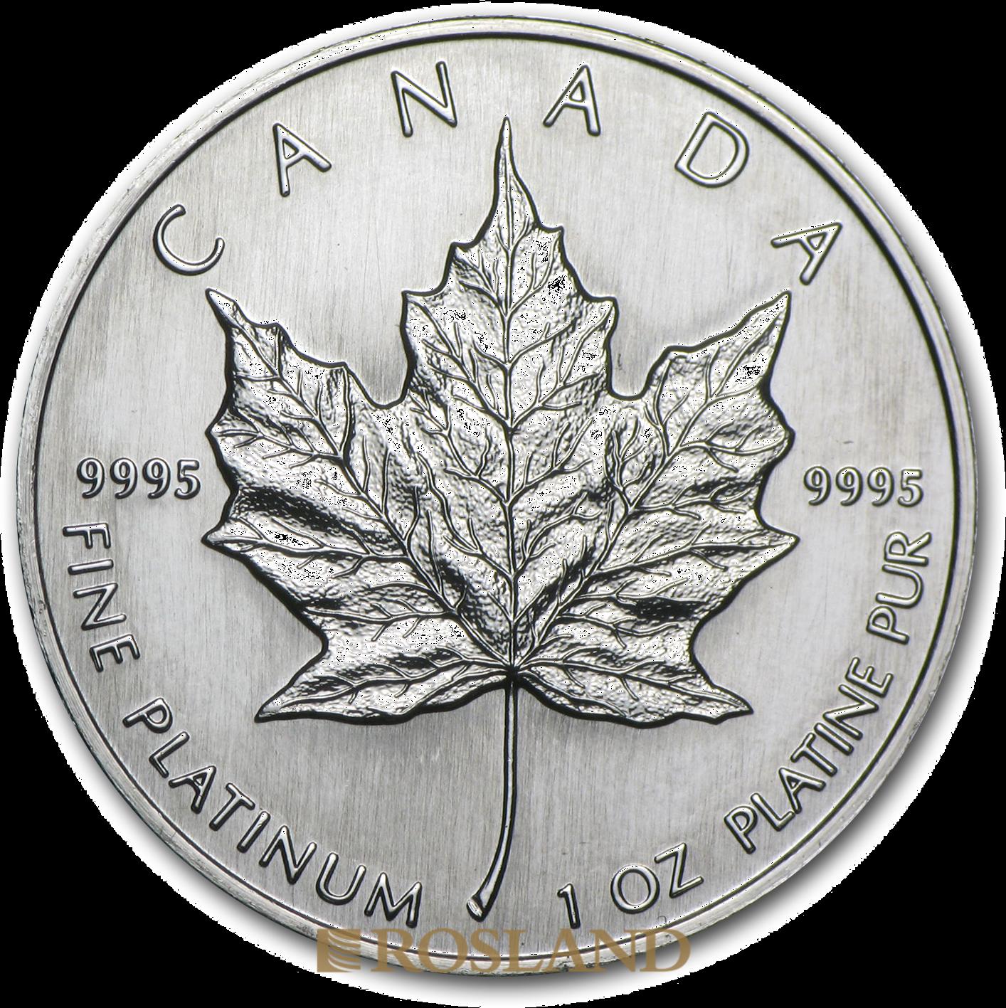 1 Unze Platinmünze Kanada Maple Leaf 1991