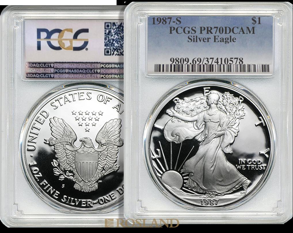 1 Unze Silbermünze American Eagle 1987 (S) PP PCGS PR-70 DCAM