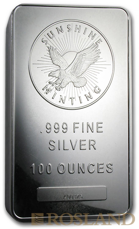 100 Unzen Silberbarren Sunshine Minting