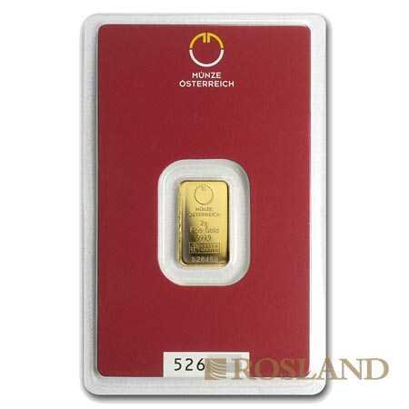 2 Gramm Goldbarren Münze Österreich