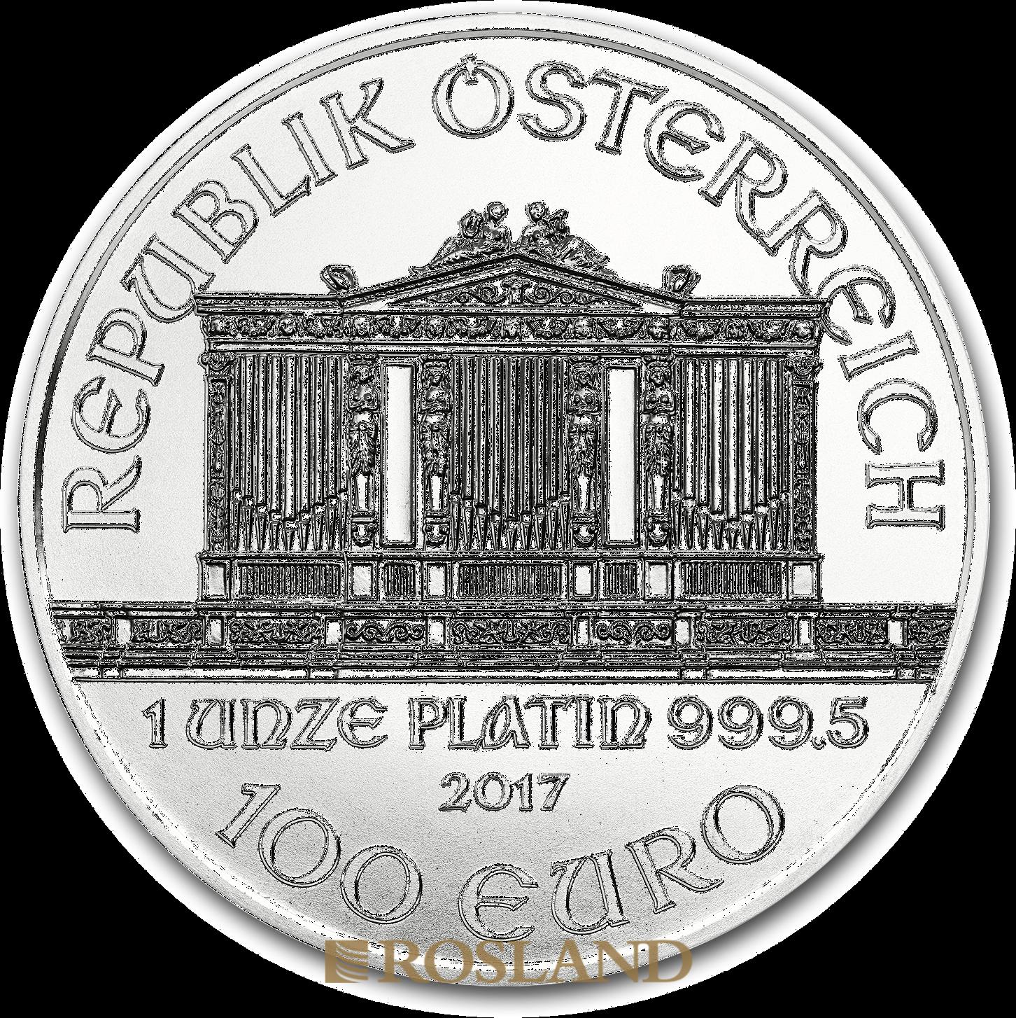 1 Unze Platinmünze Wiener Philharmoniker 2017