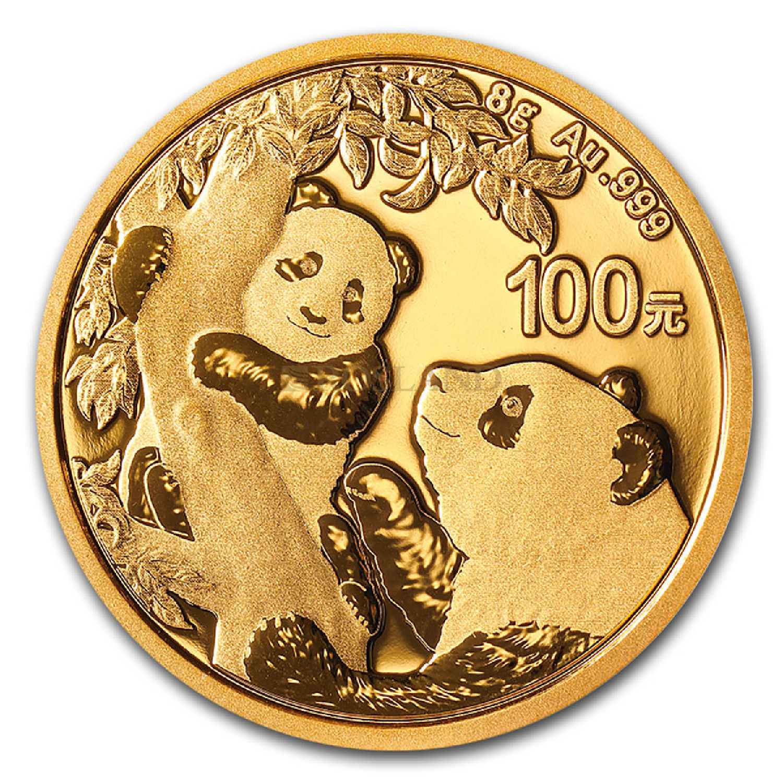 8 Gramm Goldmünze China Panda 2021